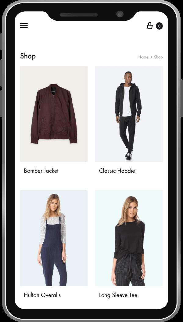 E-commerce dimostrativo in smartphone